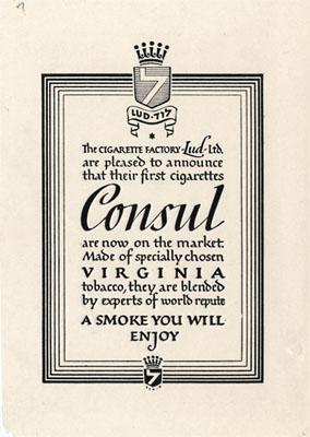 Letterpress print of Consul Ad