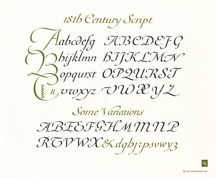 Och Chart 15 Eighteenth Century Script Idea