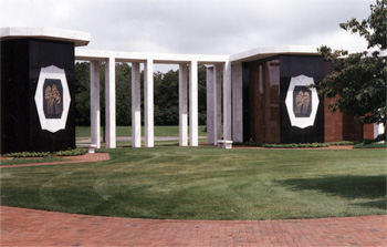 Colonnade with wall murals