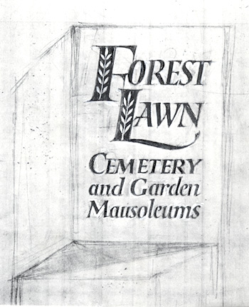 Forest Lawn Cemetery logo sketch