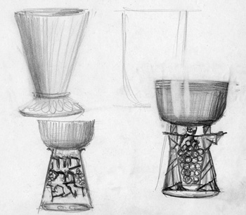 Sketches for an Elijah cup
